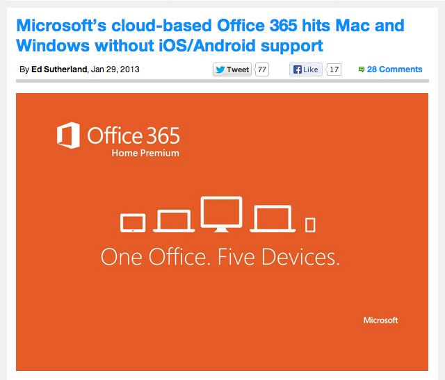 Microsoft Office 365 has no Android or ios support