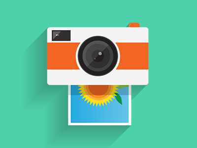 Camera App Icon – Long-shadow