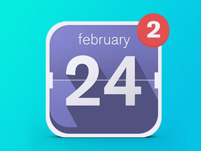 Date App Icon – Long-shadow