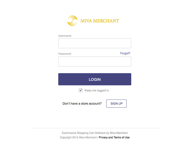 Miva Merchant: Login Redesigned